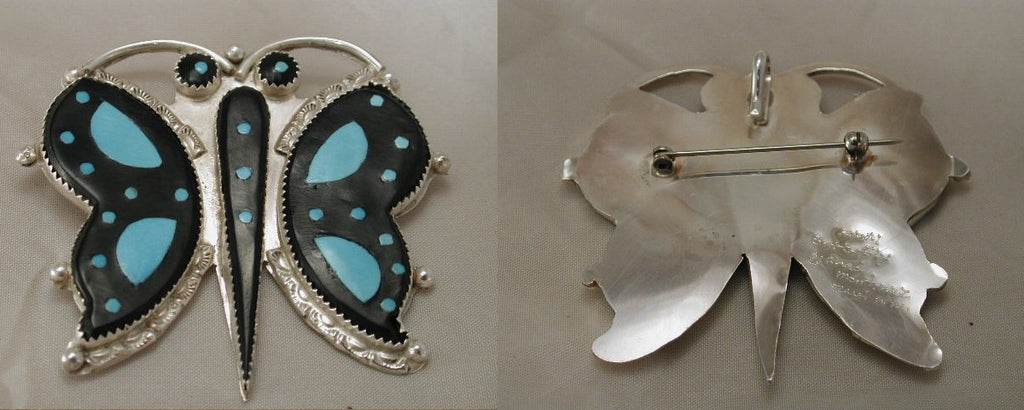 Turquoise* Insect, Butterfly Pin/Pendant by Eldred Martinez