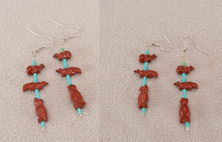 Pipestone Fetish Earrings by Reva Halate