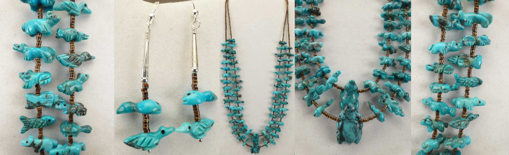 Turquoise* Multi-Animal Fetish Necklace and Earrings by Dinah Gasper