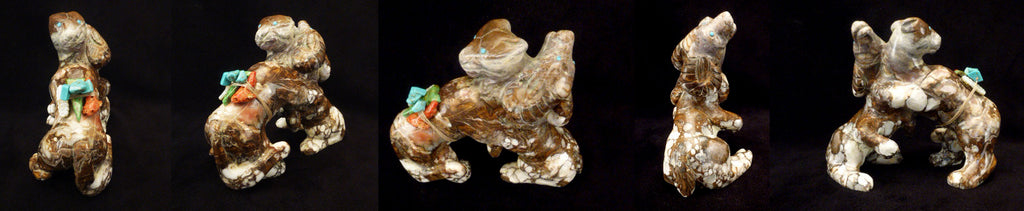 Wild Horse Rock Ram and Mountain Lion Figural by Vern Nieto, Deceased