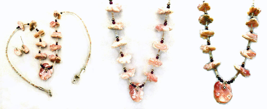 Pink Mussel Shell Frog Necklace / Earring Set by Debra Gasper and Ray Tsethlikai