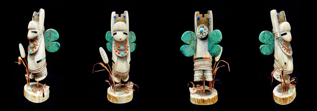Antler, Chrysoprase, Copper & MOP Butterfly Maiden by Raymond Tsalate
