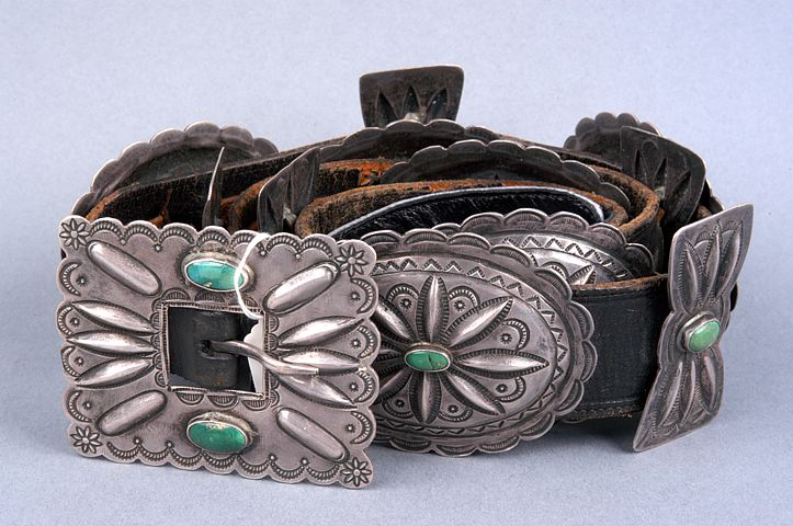 Sterling Silver and Turquoise* Deeply Stamped Old Pawn Sterling Silver and Turquoise by an Unknown Navajo