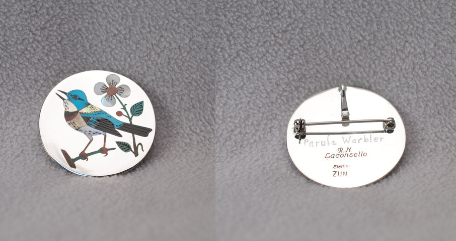 Multi-Stone Inlay Bird, Parula Warbler Pendant by Rudell and Nancy Laconsello