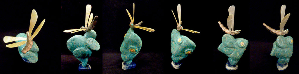 Amazonite Frog with Dragonfly by Raymond Tsalate