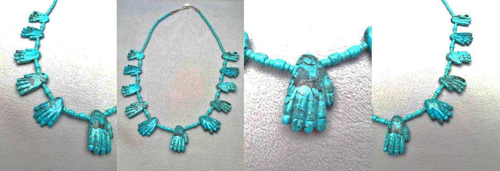 Turquoise* Hand Fetish Necklace by Dinah Gasper