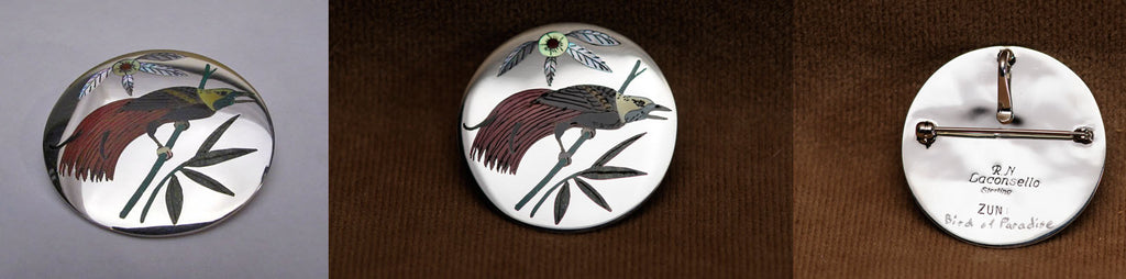 Multi-Stone Inlay Bird-of-Paradise Pendant by Rudell and Nancy Laconsello