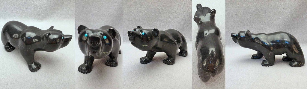 Ute Black Marble Bear by Melvin Eriacho