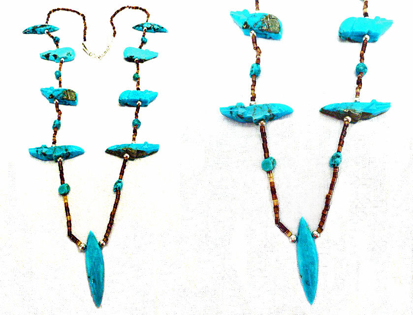 Turquoise* Mole Pendant Fetish Necklace by Abby Quam and Clayton Panteah