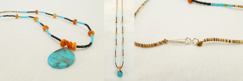 Turquoise* Beaded Necklace  by Lita Atencio