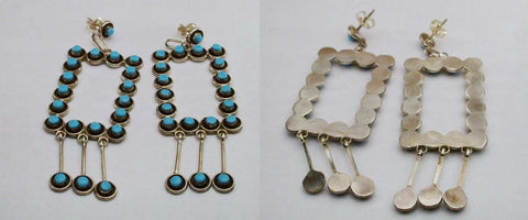 Turquoise* Earrings by Unknown Zuni