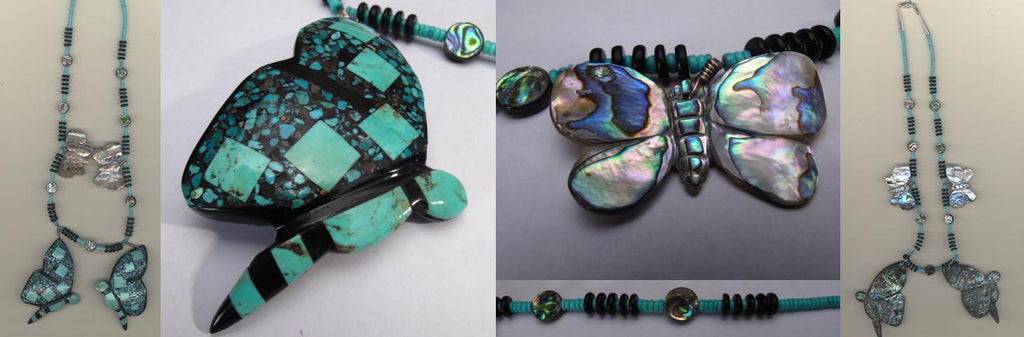 Turquoise* Insect, Butterfly Necklace by Brian Yatsattie