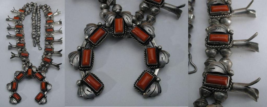 Sterling Silver and Coral Coral by an Unknown Navajo