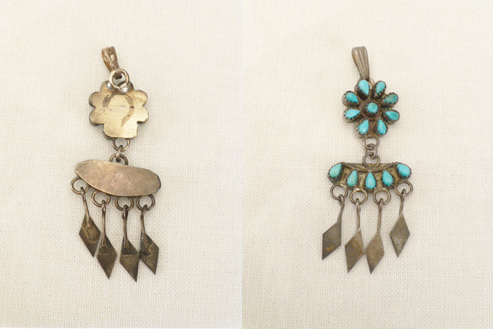 Sterling Silver and Turquoise* Flower Teardrop  by an Unknown Zuni