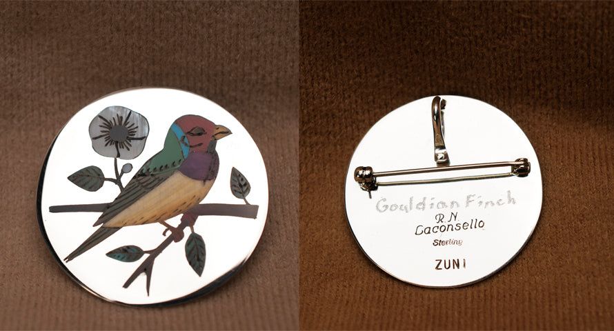 Multi-Stone Inlay Bird, Gouldian Finch Pendant by Rudell and Nancy Laconsello