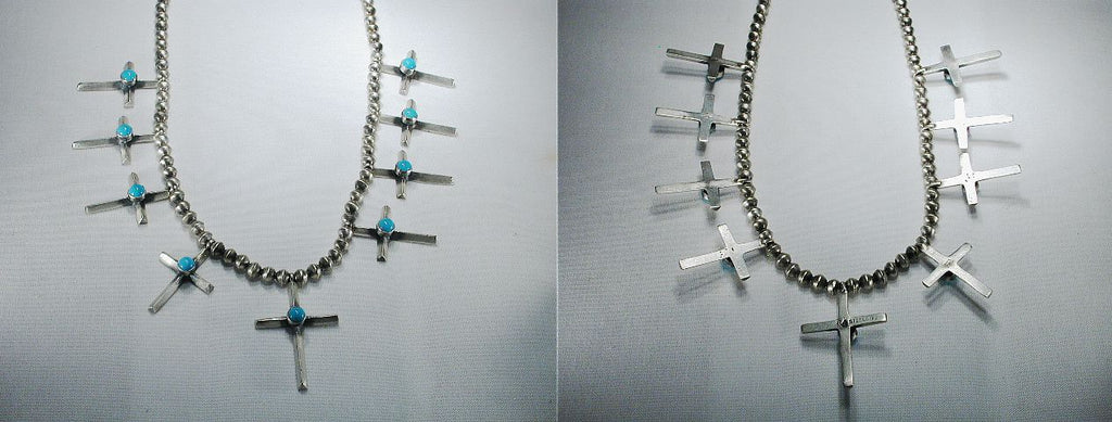 Sterling Silver/ Turquoise* Cross Necklace by Robert Johnson