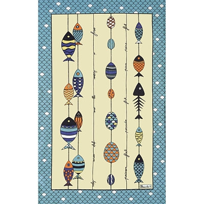 Pêche à la Ligne, Blue Kitchen / Tea Towel