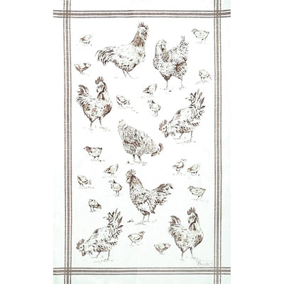 Basse-Cour (Barnyard), Taupe Kitchen / Tea Towel