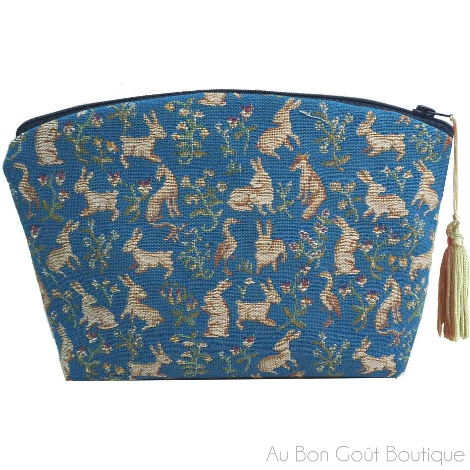 Mille Fleurs et Animaux, Bleu French Tapestry Zippered Case (Pouchette)