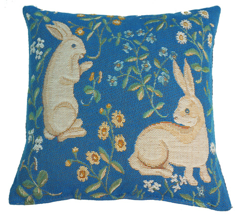 Deux Lapins (2 Rabbits), Blue, Petit French Woven Tapestry Pillow