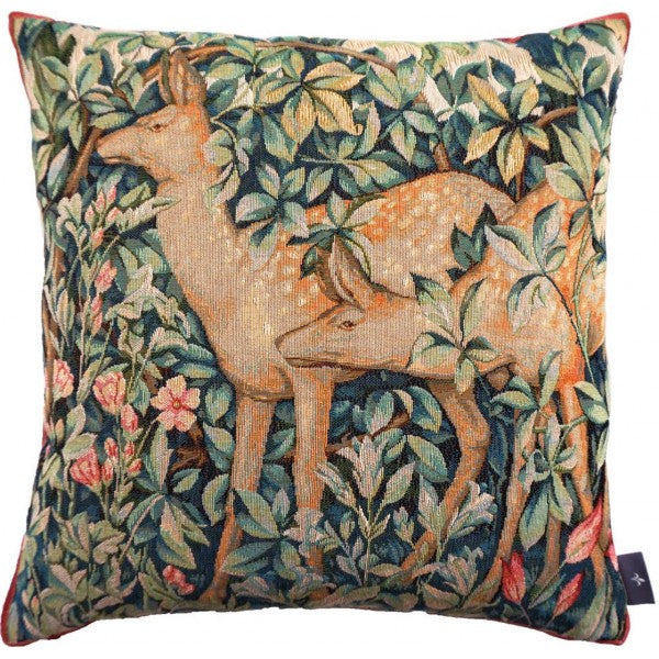 Two Fawns / Doe in the Forest (Deux Faons en Forêt) - Inspired by Wm Morris Tapestry Pillow / Cushion Cover