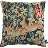 Two Rabbits in the Forest (Deux Lièvres en Forêt) - Inspired by Wm Morris Tapestry Pillow / Cushion Cover