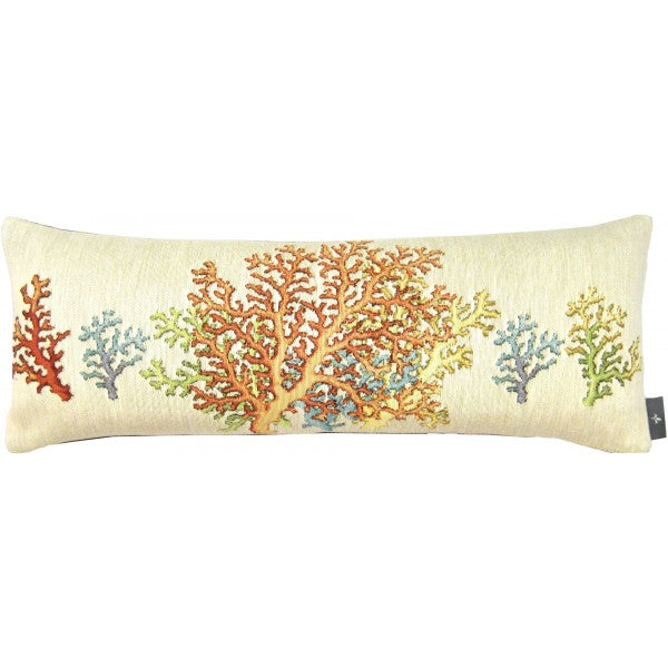 Multicolor Coral Woven Tapestry Lumbar Pillow (w/Insert)