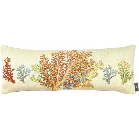 Blue Coral in Sand Large Pillow / Cushion Woven Tapestry Cover