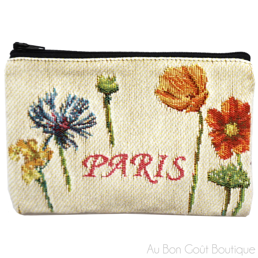 Paris Double-Sided French Tapestry Zippered Small Purse Case