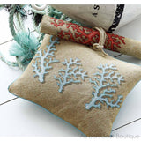 Nice (Riviera) and Blue Coral in Sand Large Pillow / Cushion Woven Tapestry Cover