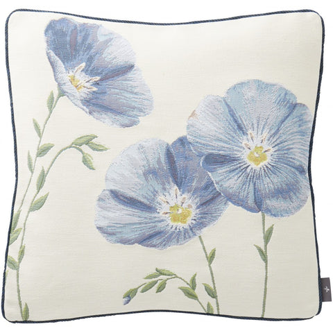 3 Blue Flax Flowers Petit French Woven Tapestry Pillow