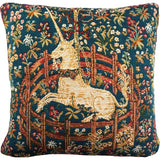 Captive Unicorn, Blue Petit French Woven Tapestry Pillow