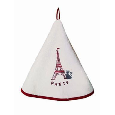 Dubout, Paris Cat at Eiffel Tower Round Hand Towel with Hanging Loop