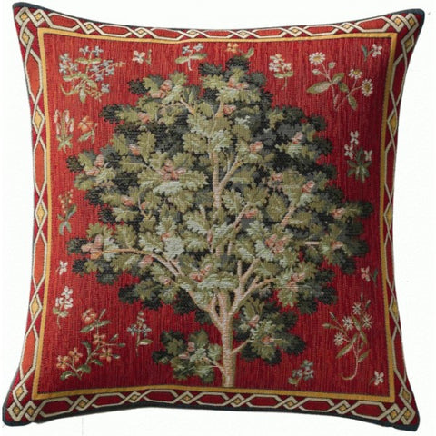 Medieval Oak Petit French Woven Tapestry Pillow