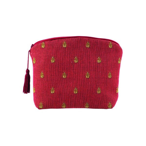 Abeilles Napoléon (Napoleonic Bees) Red French Tapestry Jacquard Zippered Case (Pouchette)