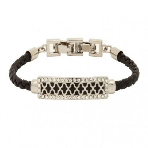Halcyon Days, Agama Sparkle Woven Leather Black & Palladium ID Bracelet