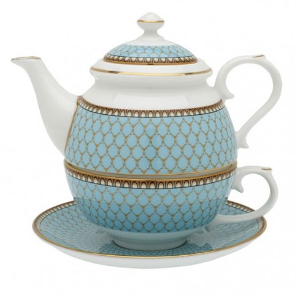 "Halcyon Days, Antler Trellis, Blue, ""Tea for One"" Set"