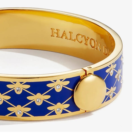 Halcyon Days, Bee Sparkle Trellis Cobalt Enamel Button Hinged Bangle