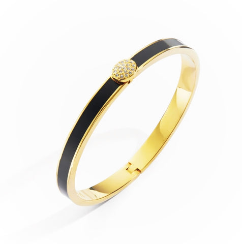 Halcyon Days, Thin Plain Pave Button Black Enamel & 18 ct Gold Hinged Bangle