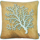 3 Blue Corals in Sand Tapestry Pillow / Cushion Cover with Insert