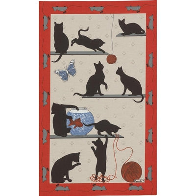 Chat Pitre Red (Mischievous Cat) Kitchen / Tea Towel