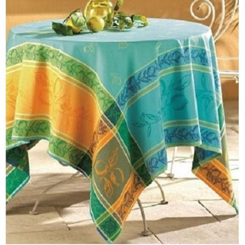 "Lea, Blue French Jacquard Tablecloth, 98"" X 62"""
