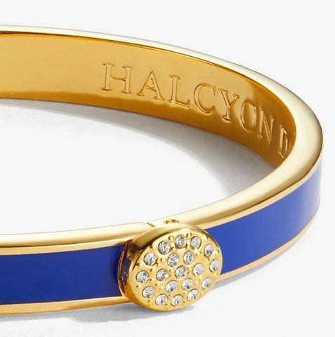 Halcyon Days, Thin Plain Pave Button Deep Cobalt Enamel & 18 ct Gold Hinged Bangle