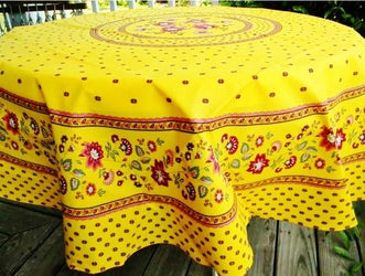 Fayence Yellow Coated Cotton Provence Tablecloth - Le Cluny