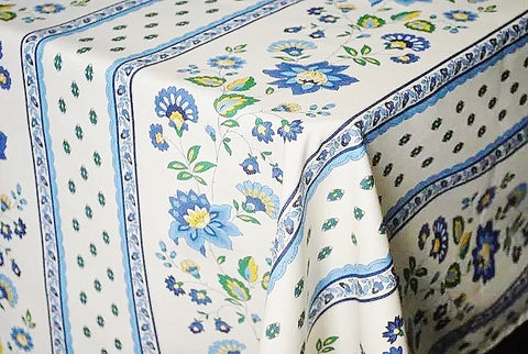 Fayence Blue & Creamy White Coated Cotton Provence Tablecloth - Le Cluny