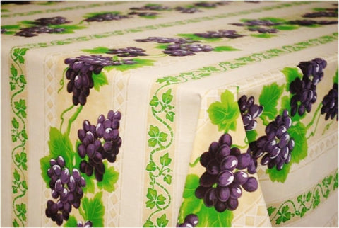Grapes Cream Coated Cotton Provence Tablecloth - Le Cluny