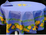 Grapes Blue Coated Cotton Provence Tablecloth - Le Cluny