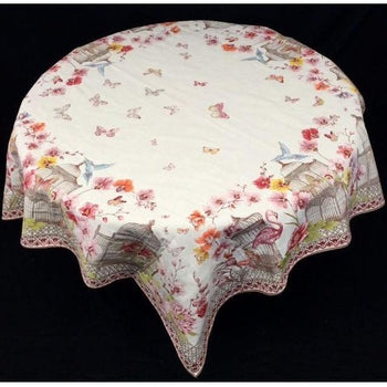 Jardin Ecru Rose French Matelassé Tablecloth, ...