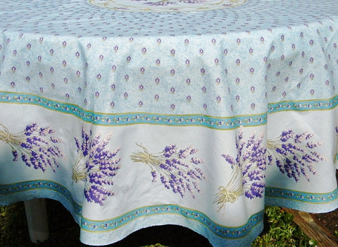 Lavender Light Blue Coated Cotton Provence Tablecloth - Le Cluny
