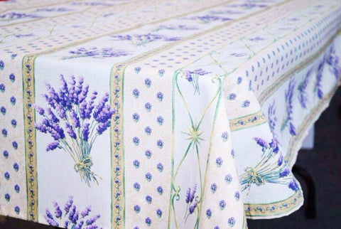 Lavender Cream Coated Cotton Provence Tablecloth - Le Cluny